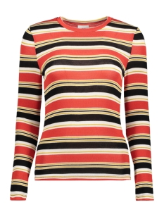 Noisy may Trui NMBRODY L/S STRIPE TOP X 27005363 Flame Scarlet/BLACK/YELLOW
