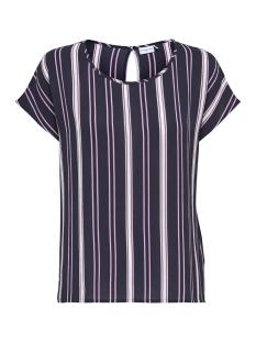 Jacqueline de Yong T-shirt JDYTRICK S/S TOP WVN 15156016 Night sky/Pink Stripe