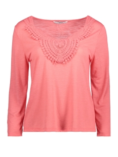 Only T-shirt onlISA 3/4 CROCHET TOP JRS 15157560 Sunkist Coral