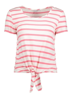 Only T-shirt onlARLI SS BOW TOP BOX JRS 15157553 Sunkist Coral/Cloud Dancer