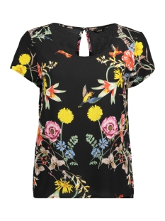 Only T-shirt onlJULIET  FIRST SS TOP WVN 15164446 Black/FLOWER AOP