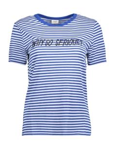 Jacqueline de Yong T-shirt JDYTOLLA S/S EMB TOP JRS 15158047 Classic Blue/CLOUD DANCER
