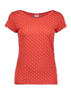 Jacqueline de Yong T-shirt JDYSURI S/S AOP TOP JRS 15157136 Flame Scarlet/MOOD INDIGO