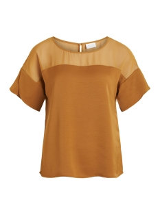Vila T-shirt VICAUSE S/S FLOUNCE TOP 14048667 Cathay Spice