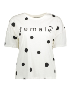 Noisy may T-shirt NMFEMALE S/S DOT TOP SSX5 27003415 SNOW WHITE