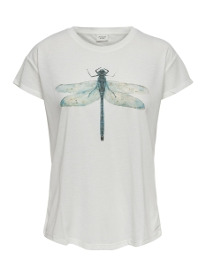 Jacqueline de Yong T-shirt JDYNIXON S/S PRINT TOP 07 JRS 15158503 Cloud Dancer/DRAGONFLY