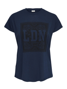 Jacqueline de Yong T-shirt JDYNIXON S/S PRINT TOP 07 JRS 15158503 Dress Blues/ dragonfly