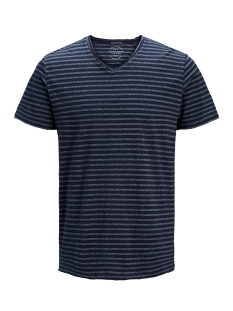 Jack & Jones T-shirt JORMEMO TEE SS V-NECK 12137757 Total Eclipse/SLIM - VN