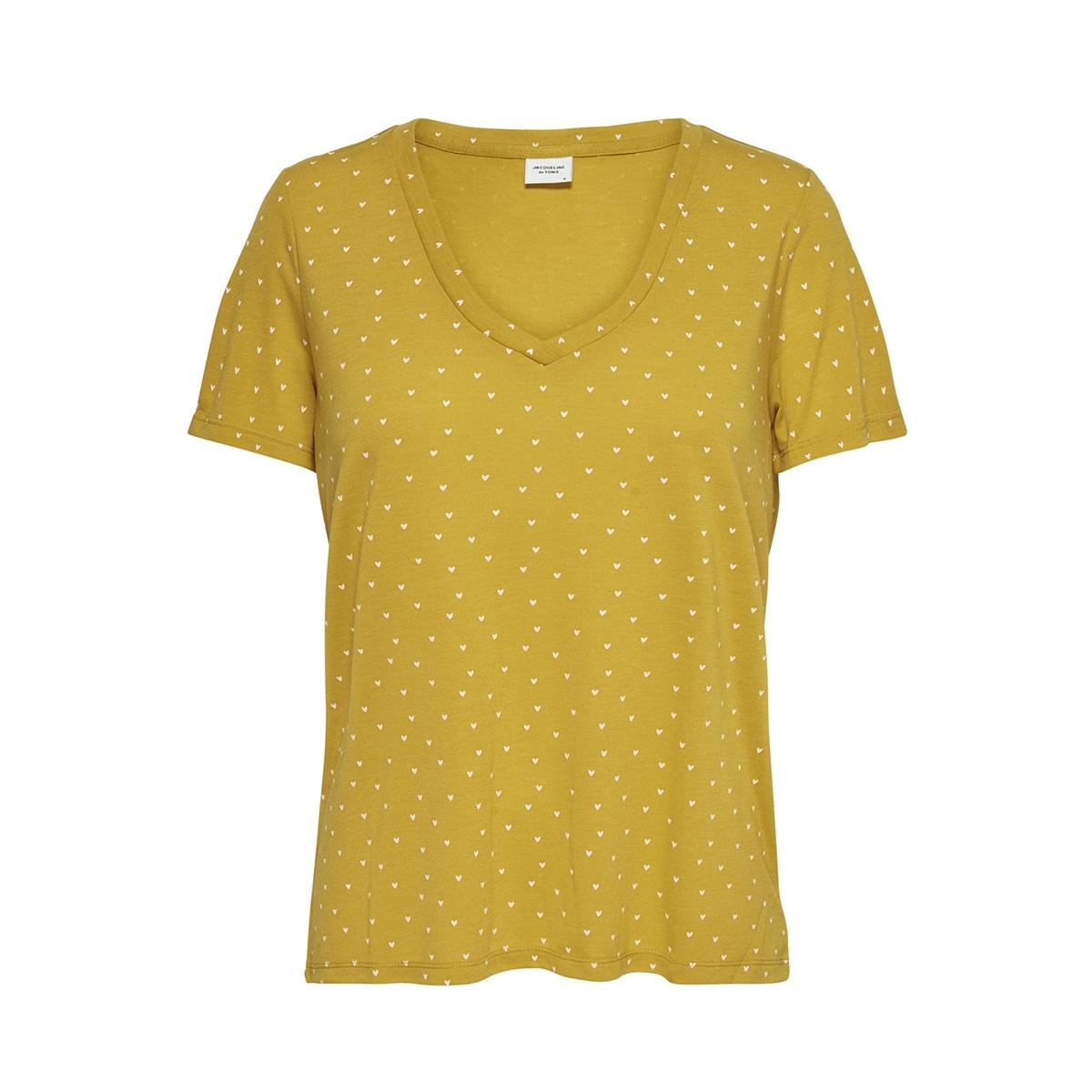 jdycloud s/s aop v-neck top jrs noo 15148943 jacqueline de yong t-shirt golden spice/cloud dancer