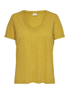 Jacqueline de Yong T-shirt JDYCLOUD S/S AOP V-NECK TOP JRS NOO 15148943 Golden Spice/CLOUD DANCER