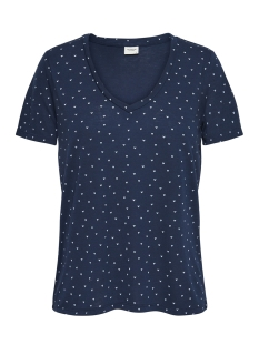 Jacqueline de Yong T-shirt JDYCLOUD S/S AOP V-NECK TOP JRS NOO 15148943 Dress Blues/CLOUD DANCER