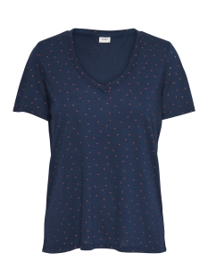 Jacqueline de Yong T-shirt JDYCLOUD S/S AOP V-NECK TOP JRS NOO 15148943 Dress Blues/HEARTS