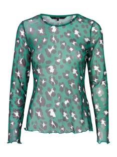 Vero Moda T-shirt VMSAGA L/S MESH BLOUSE VIP 10208122 Verdant Green/LEOPARD