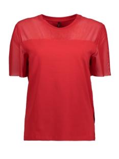 Only T-shirt onlLIVE LOVE TRENDY MESH SS O-NECK 15166641 Goji Berry