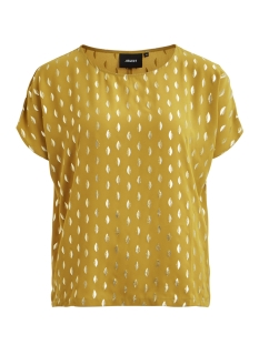 Object T-shirt OBJJOSEFINE S/S URBAN TOP A DIV 23028211 Buckthorn Brown/GOLD FOIL