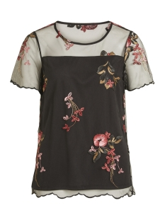 Vila T-shirt VIPERNO S/S EMBROIDERY TOP 14048772 Black/RED TONED