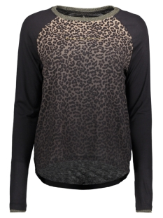 Only T-shirt onlLEONOR L/S FLAWLESS/LEO TOP BOX 15163752 Black/LEO1