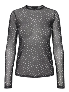 Vero Moda T-shirt VMJENA MESH O-NECK L/S TOP SB7 10202836 Black/SNOW MEGA DOTS