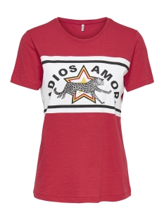 Only T-shirt onlADIOS S/S TOP JRS 15176585 Mars Red/CHEETAH