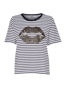 Only T-shirt onlIDA FOIL LIP S/S AOP T-SHIRT JRS 15172716 White/NIGHT SKY