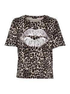 Only T-shirt onlIDA FOIL LIP S/S AOP T-SHIRT JRS 15172716 Black/LEO W.SILVER
