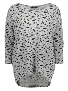 Only Carmakoma T-shirt carALBA 3/4 TOP 15164534 Light Grey Melange/BLACK FEATHERS