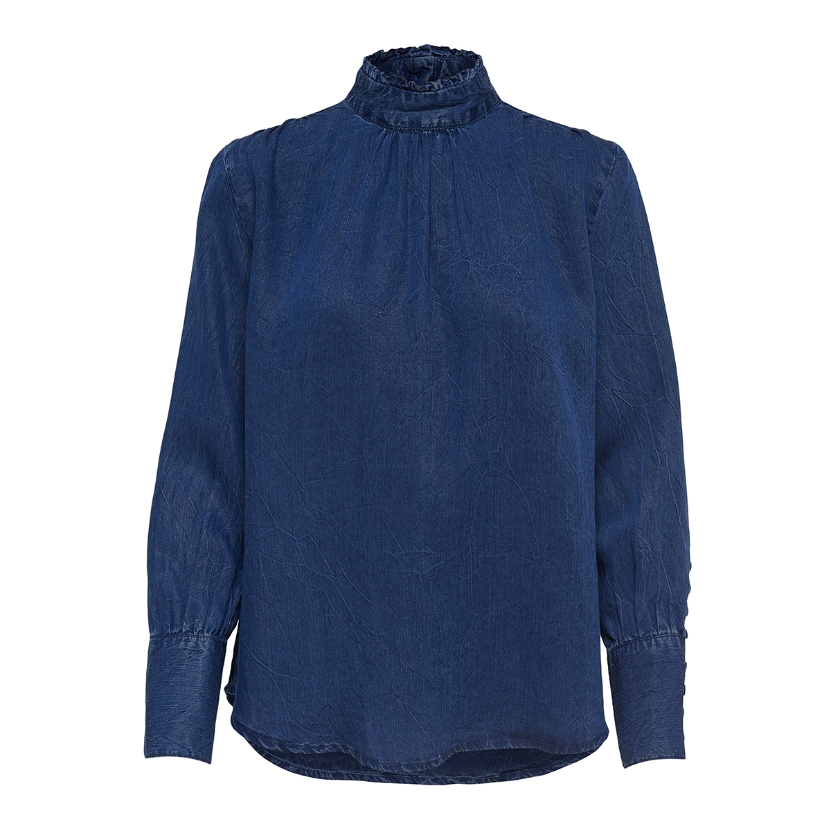 onljosie high neck l/s blouse dnm 15158810 only blouse dark blue denim