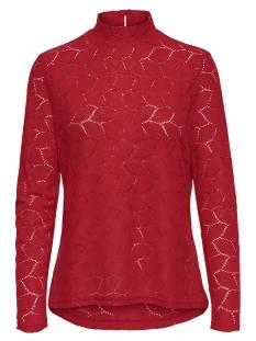 Jacqueline de Yong T-shirt JDYTAG L/S HIGNECK LACE TOP JRS EXP 15168521 High Risk Red