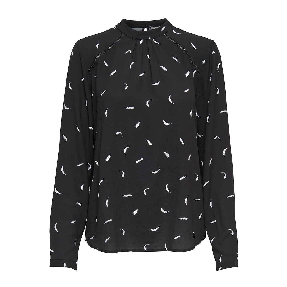 onlnew mallory  aop l/s blouse wvn 15154629 only t-shirt black/cd feathers
