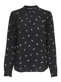 onlnew mallory  aop l/s blouse wvn 15154629 only blouse black/cd feathers