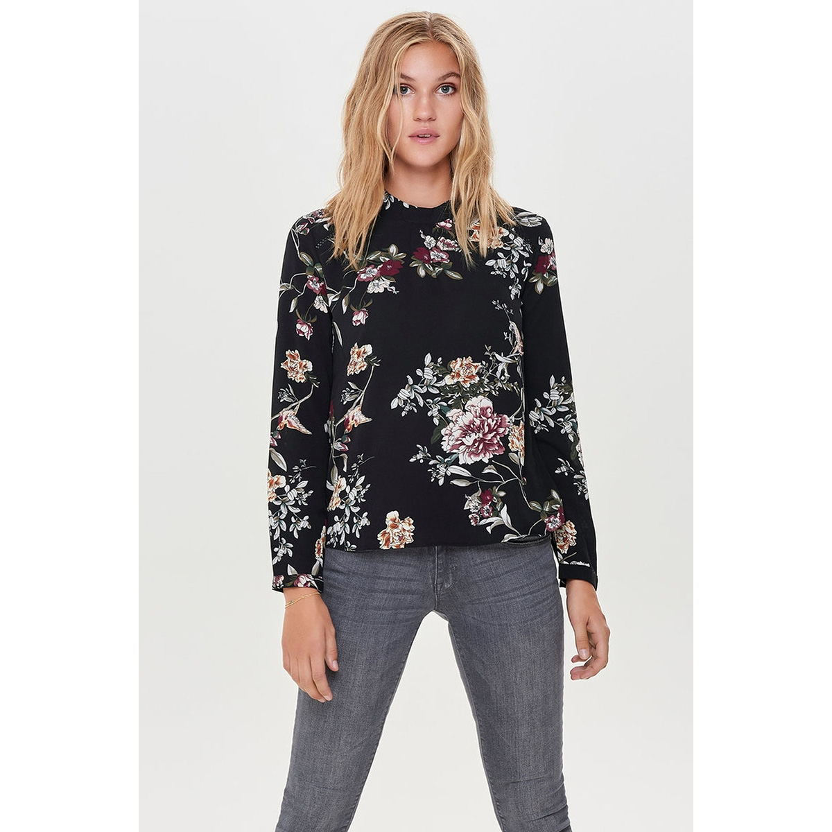 onlnew mallory  aop l/s blouse wvn 15154629 only blouse black/cd flowers