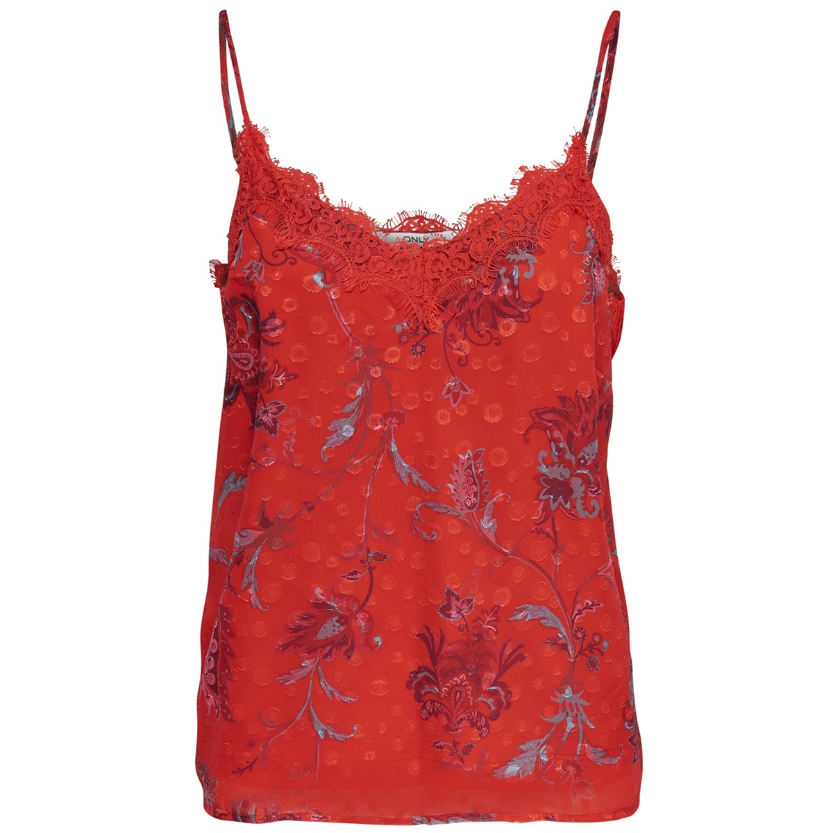 wfceline s/l tank top wvn 15173902 only top fiery red/paisley aop