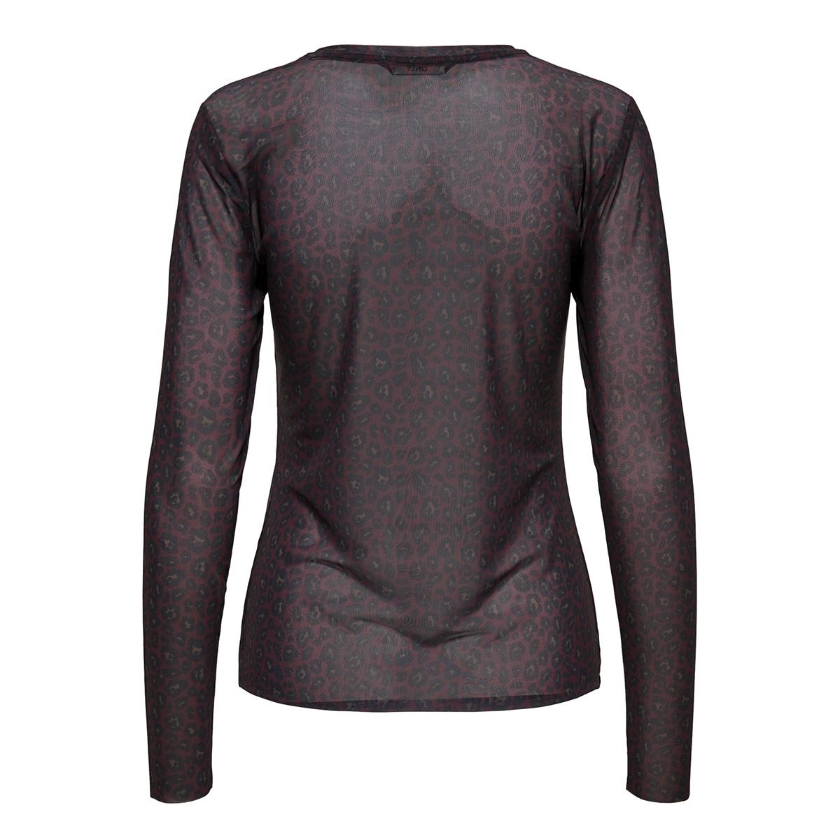 onlmaja leo mesh o-neck l/s top jrs 15161562 only t-shirt winetasting/red leo