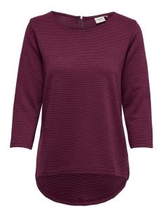 Jacqueline de Yong T-shirt JDYSAGA 3/4 ZIP TOP JRS NOOS  15154613 Red Plum