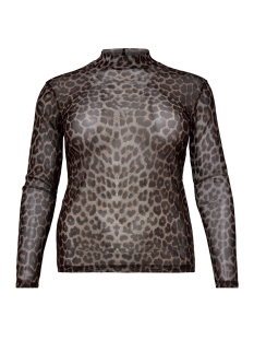 Only Carmakoma T-shirt carMESH AOP LEOPARD TOP 15167400 Black AOP/LEOPARD