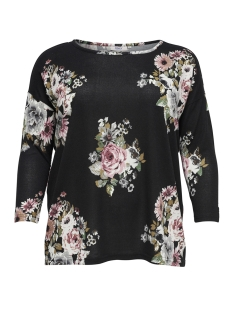 Only Carmakoma T-shirt carALBA 3/4 TOP 15164534 Black/FLOWERS