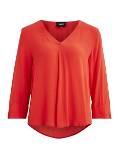Object T-shirt OBJBAY 3/4 TOP SEASONAL 23028024 Fiery Red