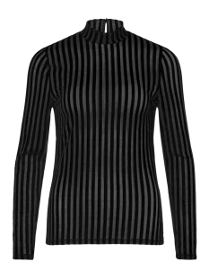 Vila T-shirt VIDARLING STRIPE L/S T-SHIRT 14050465 Black/BLACK FLOCK STRIPES