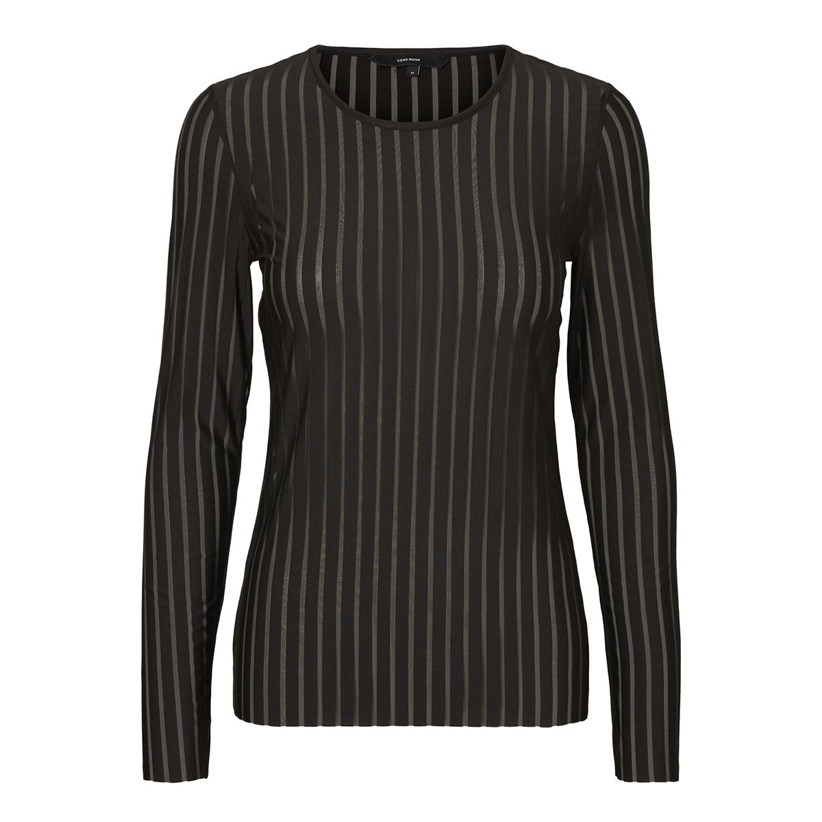 vmmoon mesh l/s o-neck top 10202106 vero moda t-shirt black/black