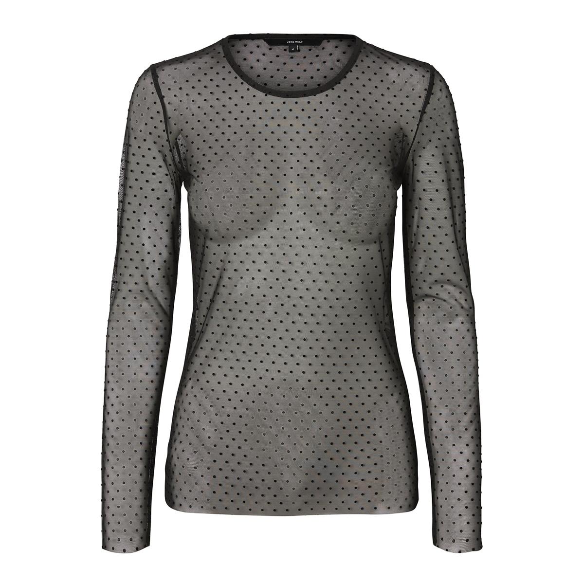 vmmoon mesh l/s o-neck top 10202106 vero moda t-shirt black/velvet dot