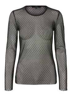 Vero Moda T-shirt VMMOON MESH L/S O-NECK TOP 10202106 Black/VELVET DOT