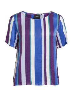 Object T-shirt OBJROSALINA S/S TOP A AU 23029020 Plum/MULTISTRIPE