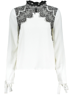 Vero Moda Blouse VMFANA SHARPA L/S MIDI LACE TOP D2- 10207199 Snow White/BLACK LACE