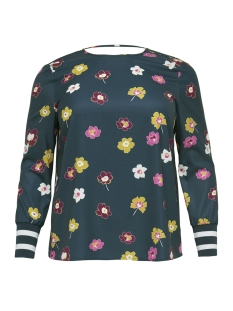 Only Carmakoma T-shirt carKASHNIE LS TOP 15170790 Majolica Blue/FLOWER