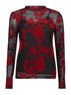Vero Moda T-shirt VMFLIRTY L/S MIDI HIGHNECK TOP D2-8 10207132 Black/Chinese Red