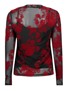 vmflirty l/s midi highneck top d2-8 10207132 vero moda t-shirt black/chinese red