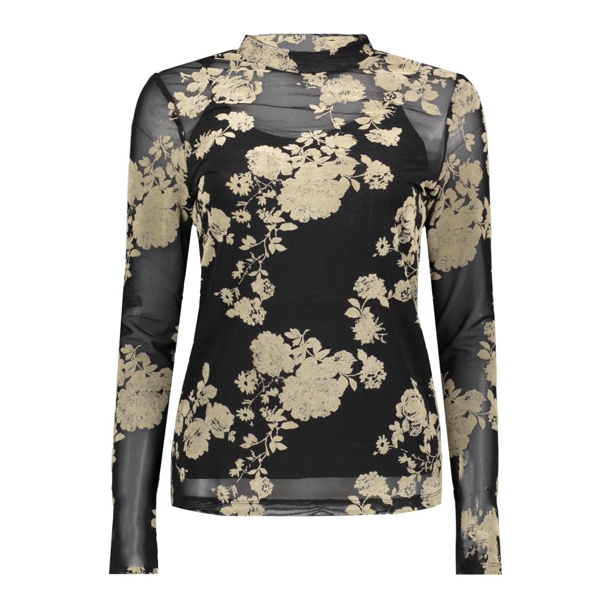 vmflirty l/s midi highneck top d2-8 10207132 vero moda t-shirt black/oatmeal
