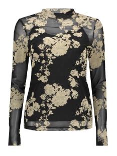 Vero Moda T-shirt VMFLIRTY L/S MIDI HIGHNECK TOP D2-8 10207132 Black/Oatmeal