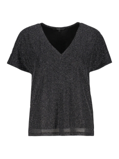 Vero Moda T-shirt VMFRANSA WIDE V-NECK TOP D2-8 10207123 Black/SILVER LUREX