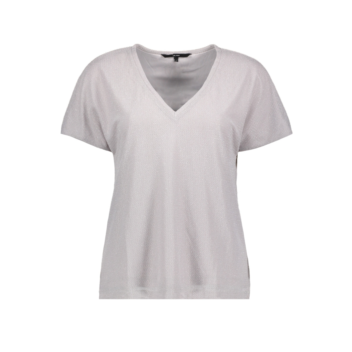 vmfransa wide v-neck top d2-8 10207123 vero moda t-shirt silver sconce/silver lurex
